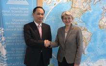 Tổng Giám đốc UNESCO Irina Bokova tiếp Thứ trưởng Ngoại giao Lê Hoài Trung, Chủ tịch Ủy ban Quốc gia UNESCO Việt Nam