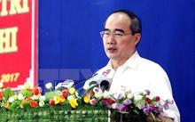 Bí thư Thành ủy Thành phố Hồ Chí Minh Nguyễn Thiện Nhân phát biểu. (Ảnh: Hoàng Hải/TTXVN)