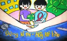 """Ảnh minh họa (Một bức tranh vẽ của trẻ em trong cuộc thi """"Vẽ tranh và sáng tác Thông điệp dành cho trẻ em về Chăm sóc và chống kỳ thị đối với trẻ em bị ảnh hưởng bởi HIV/AIDS"""" năm 2016)"""