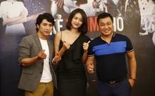 Lý Hùng và đạo diễn kiêm diễn viên Ngụy Minh Khang cùng người đẹp Trương Mỹ Nhân tại buổi giới thiệu phim.