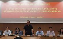 Bí thư thành ủy, Trưởng đoàn đại biểu Quốc hội TP Hoàng Trung Hải phát biểu tại buổi làm việc