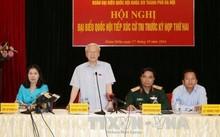 Tổng Bí thư Nguyễn Phú Trọng phát biểu tại một cuộc tiếp xúc cử tri quận Hoàn Kiếm năm 2016. Ảnh: TTXVN
