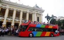 Xe buýt 2 tầng được Hanoi Transerco đưa ra chạy thử nghiệm vào tháng 6/2017. (Ảnh: Phong Vân)
