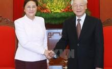 Tổng bí thư Nguyễn Phú Trọng tiếp Chủ tịch quốc hội Lào Pany Yathotou sang thăm hữu nghị chính thức Việt Nam. Ảnh: Lâm Khánh/TTXVN.