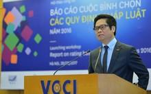 Ông Vũ Tiến Lộc, Chủ tịch VCCI, tại buổi công bố kết quả bình chọn. Ảnh: Quốc Tuấn.