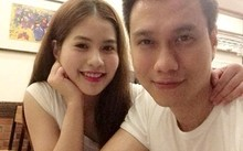 Việt Anh và vợ trẻ kém anh 9 tuổi.