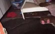 Hiện trường hố tử thần xuất hiện trong phòng ngủ ở Hồ Nam, Trung Quốc. Ảnh: SCMP.