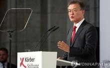 Tổng thống Hàn Quốc Moon Jae-in nêu sáng kiến hòa bình trong chuyến thăm Berlin (Đức) hôm 6/7. Ảnh: Yonhap