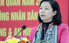 Bà Vũ Thu Hà, Chủ tịch UBND quận Long Biên. Ảnh: QĐND.