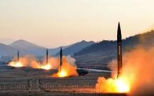 Triều Tiên phóng 4 tên lửa hồi tháng ba. Ảnh: KCNA.