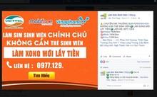 """Quảng cáo chuyển đổi SIM thường sang SIM sinh viên rất phổ biến trên mạng xã hội. Ảnh: chụp màn hình Facebook """" Làm Sim sinh viên *****""""."""