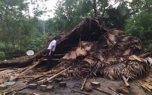 Một nhà dân tại xã Tiền Phong (huyện Quế Phong) bị lốc làm sập trong chiều 3/5.