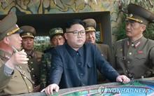 Lãnh đạo Triều Tiên thị sát đảo tiền tiêu. Ảnh: Yonhap