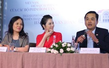 Tư trái qua: Bà Ngô Phương Lan - Cục trưởng Cục Điện ảnh Việt Nam, Lý Nhã Kỳ và ông Bùi Tá Hoàng Vũ - Giám đốc Sở Du lịch TP HCM tại họp báo chiều 9/5.