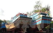 Tàu cá của ngư dân Khánh Hòa được đưa lên bờ để nâng cấp.