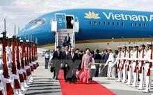 Lễ đón Thủ tướng Nguyễn Xuân Phúc và Phu nhân tại sân bay quốc tế Haneda ở thủ đô Tokyo. Ảnh: Thống Nhất/TTXVN.