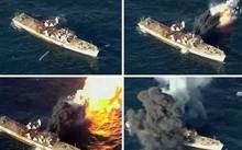 Khoảnh khắc tên lửa Triều Tiên bắn trúng mục tiêu tàu chiến địch giả định. Ảnh: KCTV