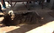 Khu vực phát hiện quan tài nghi mộ cổ.