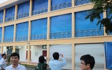 Khu vực in sao đề thi ở Đại học Hàng hải Hải Phòng được che kín mít.