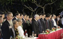 Các lãnh đạo Đảng, Nhà nước và đại biểu tại điểm cầu Hà Nội. (Ảnh: VTV)