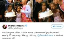 Bà Michelle Obama gửi lời chúc sinh nhật cho chồng ngày 4/8. Ảnh chụp màn hình.