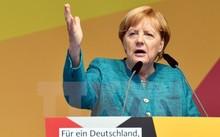 Thủ tướng Đức Angela Merkel tại cuộc họp báo ở Annaberg-Buchholz, Đức, ngày 17/8. (Nguồn: AFP/TTXVN)