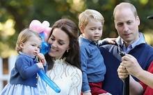 Hoàng tử William, Công nương Kate cùng hai con George và Charlotte. Ảnh: Hello Magazine.