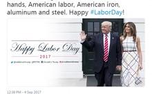 Thông điệp viết nhân Ngày Lao động của Tổng thống Donald Trump trên Twitter và bức ảnh gây tranh cãi (Ảnh: Twitter/Donald Trump)