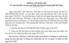 Thông báo của Bộ VHTTDL rút lại văn bản vừa ban hành