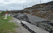 Nghệ An: Sụt lún đoạn đường hơn 60 tỷ đồng mới đưa vào sử dụng