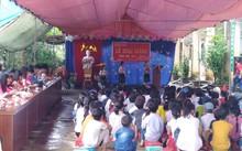 Lễ khai giảng trường tiểu học Xuân Lạc.Ảnh: Zing