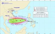 Bão Damrey - cơn bão thứ 12 trong năm ở Biển Đông được dự báo có cấp độ gió rất mạnh. Ảnh: NCHMF.