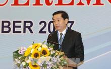 Bí thư Trung ương Đoàn TNCS Hồ Chí Minh, Phó Chủ nhiệm Thường trực Ủy ban Quốc gia về Thanh niên Việt Nam Nguyễn Long Hải phát biểu. Ảnh: TTXVN