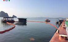 Hiện trường tàu chìm tại khu vực Cửa Hẹp, lực lượng chức năng đang quây phao ngăn sự cố tràn dầu.