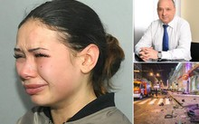 Elena (trái) và tỷ phú Vasyli Zaitsev (trên cùng bên phải) và hiện trường vụ tai nạn