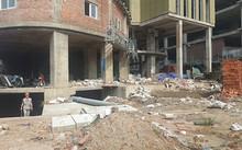 Công trường trước sảnh tòa nhà còn ngổn ngang chưa thi công như chủ đầu tư vẫn hối thúc khách hàng đóng tiền nhận nhà vào ở , ảnh Lê Quân