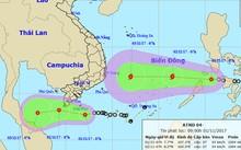 Dự báo đường đi và khu vực ảnh hưởng của hai áp thấp nhiệt đới. Ảnh: NCHMF.