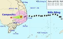 Vị trí tâm bão lúc 13h đang ở khu vực Nam Tây Nguyên - Ảnh: Trung tâm Khí tượng thủy văn Trung ương