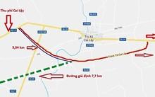 Bản đồ tuyến tránh Thị xã Cai Lậy và tuyến giả định. Tác giả: Bảo An