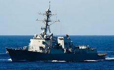Tàu USS Dewey đã tiến hành diễn tập khi di chuyển gần đá Vành Khăn cuối tháng 5/2017.