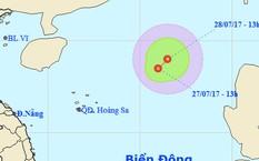 Dự báo đường đi của áp thấp nhiệt đới. Ảnh: NCHMF.