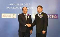 Thủ tướng Nguyễn Xuân Phúc và Phó Thủ tướng Thái Lan Prajin Juntong tới dự Diễn đàn. Ảnh: VGP/Quang Hiếu.