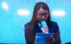 Bà Hoàng Thị Hồng Tứ trả lời thẩm vấn trong phiên xét xử Hà Văn Thắm và đồng phạm hồi tháng 3.
