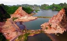 Nhiều núi đá thuộc vùng đệm Di sản thiên nhiên thế giới vịnh Hạ Long bị đục đẽo nham nhở.
