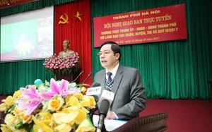 Giám đốc Sở Nội vụ Trần Huy Sáng phát biểu tại hội nghị giao ban trực tuyến