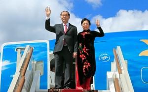 Chủ tịch nước Trần Đại Quang và Phu nhân tại sân bay Vnukovo 2. Ảnh: TTXVN