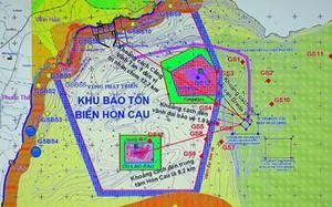 Bản đồ vị trí nhận chìm bùn xuống biển cách tâm Khu bảo tồn Hòn Cau 8 km và cách vành đai bảo vệ khu bảo tồn này 2 km.