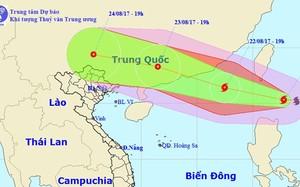 Hướng di chuyển của bão Hato tối 21/8. Ảnh: NCHMF.