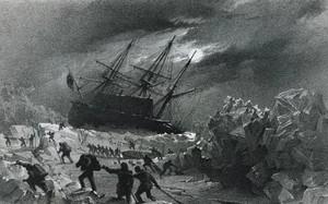 Minh họa một trong 2 con tàu bị kẹt giữa băng. Tranh: De Agostin.