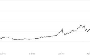 Biến động giá Bitcoin trong 12 tháng qua. Ảnh: CoinDesk